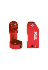 Traxxas Caster blocks, 30-degree, red-anodized 6061-T6 aluminum (left & right)/ suspension screw pin (2)