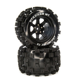 "Duratrax SixPack MT Belt 2.8"" Mounted Front/Rear Tires .5 Offset 17mm, Black Chrome (2)"