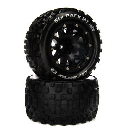 """Duratrax Six Pack MT Belted 2.8"""" Mounted Front/Rear Tires, 14mm Black (2)"""