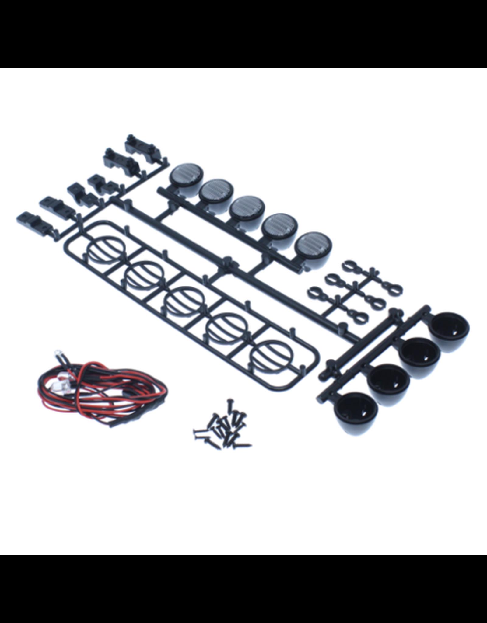 Redcat Racing LED Crawler Light Bar Set(5 Spotlight) Black (LED lights are white, Plastic Light bar is black)