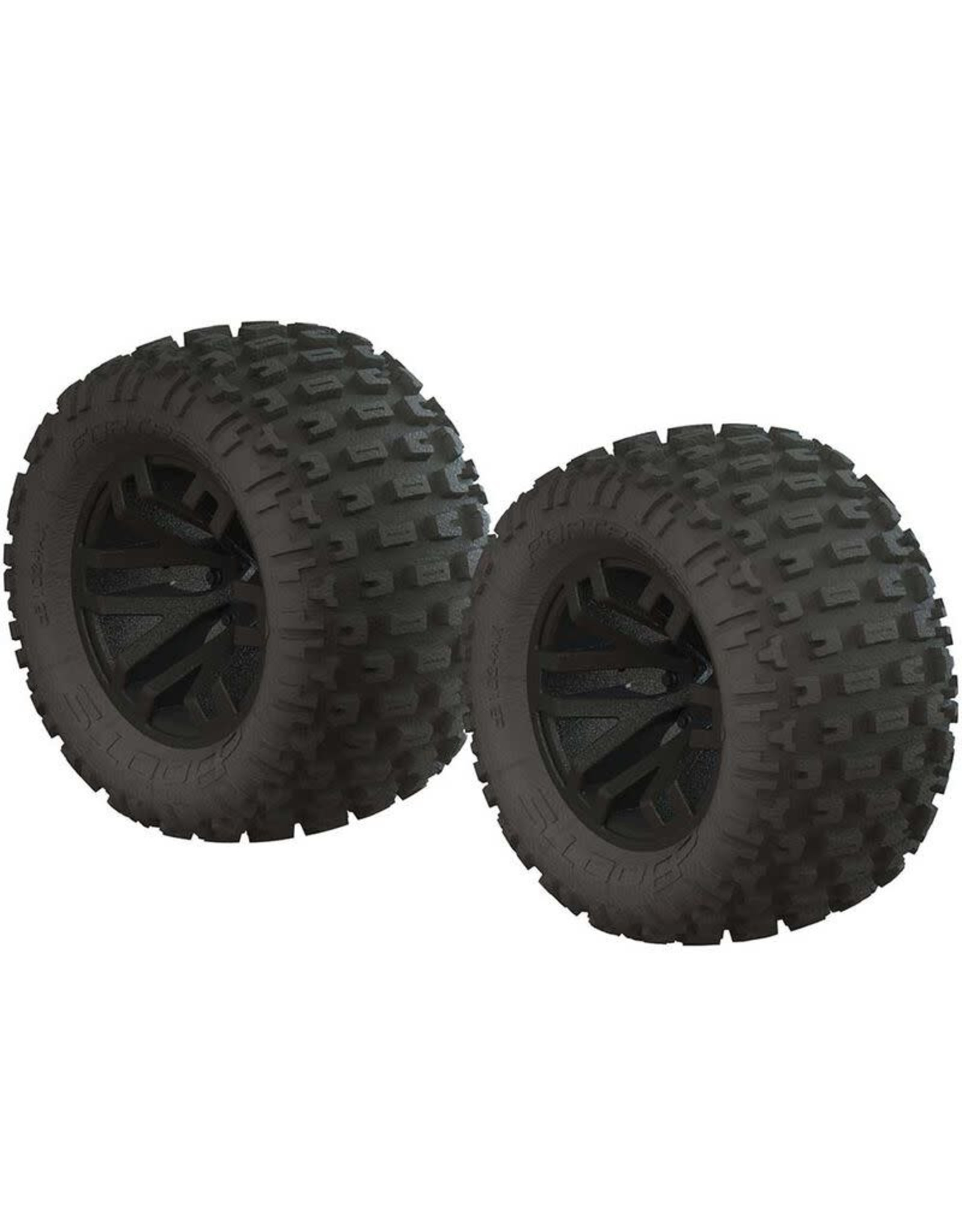 ARRMA 1/10 dBoots Fortress MT 2.2/3.0 Pre-Mounted Tires, 14mm Hex, Black (2)