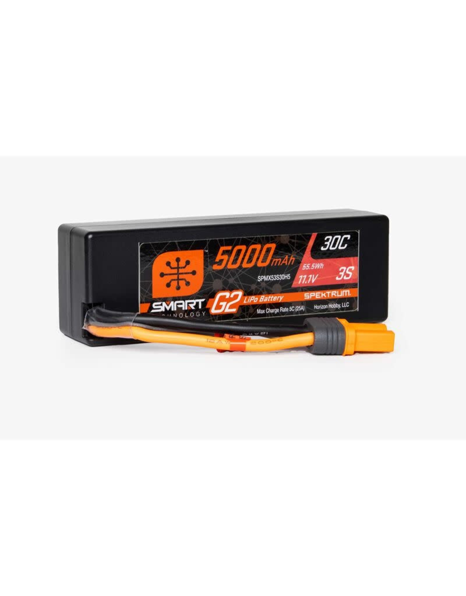 'Spektrum 11.1V 5000mAh 3S 30C Smart G2 Hardcase LiPo Battery: IC3