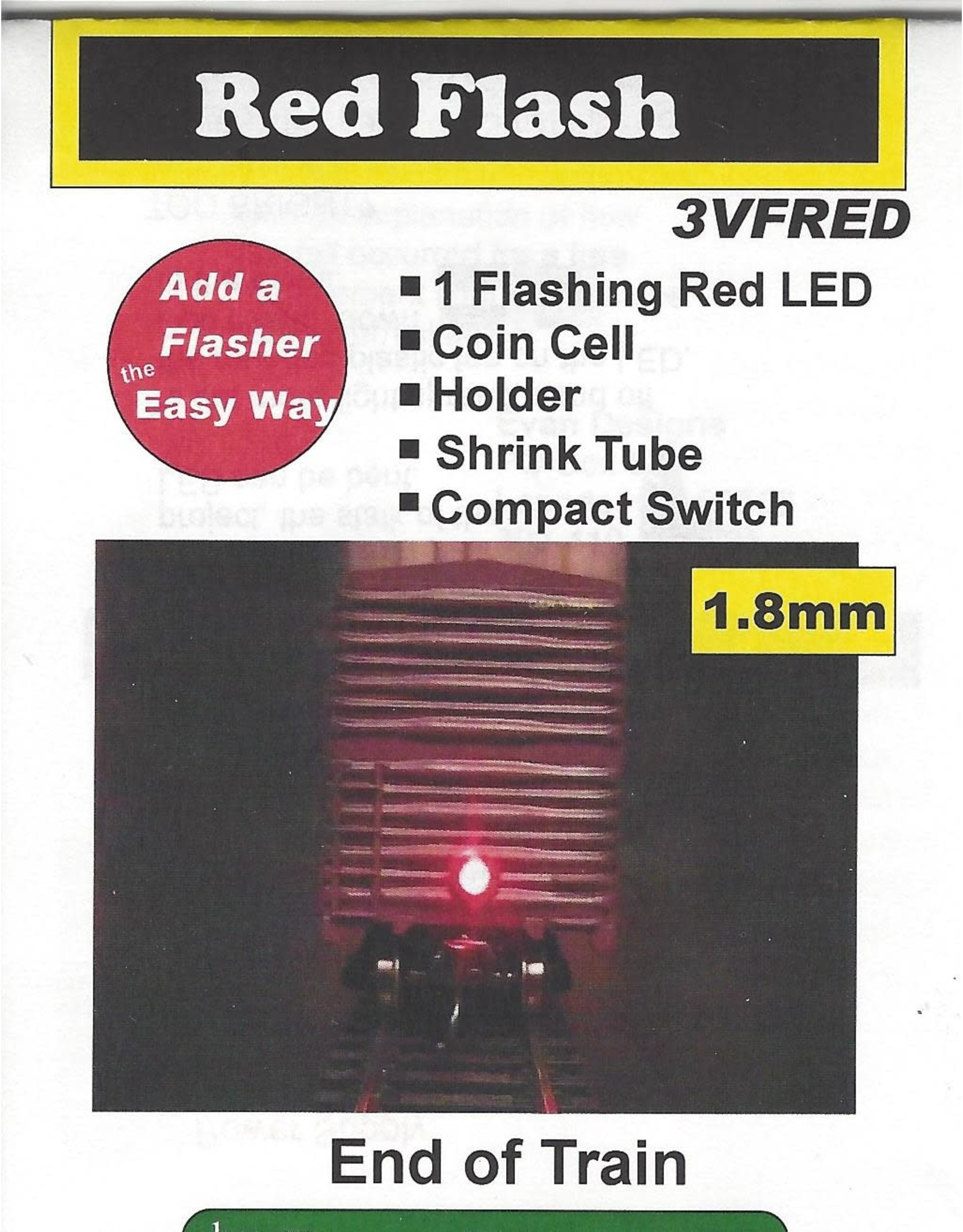 Evans Design End-of-Train Device - Kit -- Red 1.8mm LED, Battery Included w/On-Off Switch