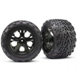"Traxxas Tires & wheels, assembled, glued (2.8"") (All-Star black chrome wheels, Talon tires, foam inserts) (nitro rear/ electric front) (2) (TSM rated)"