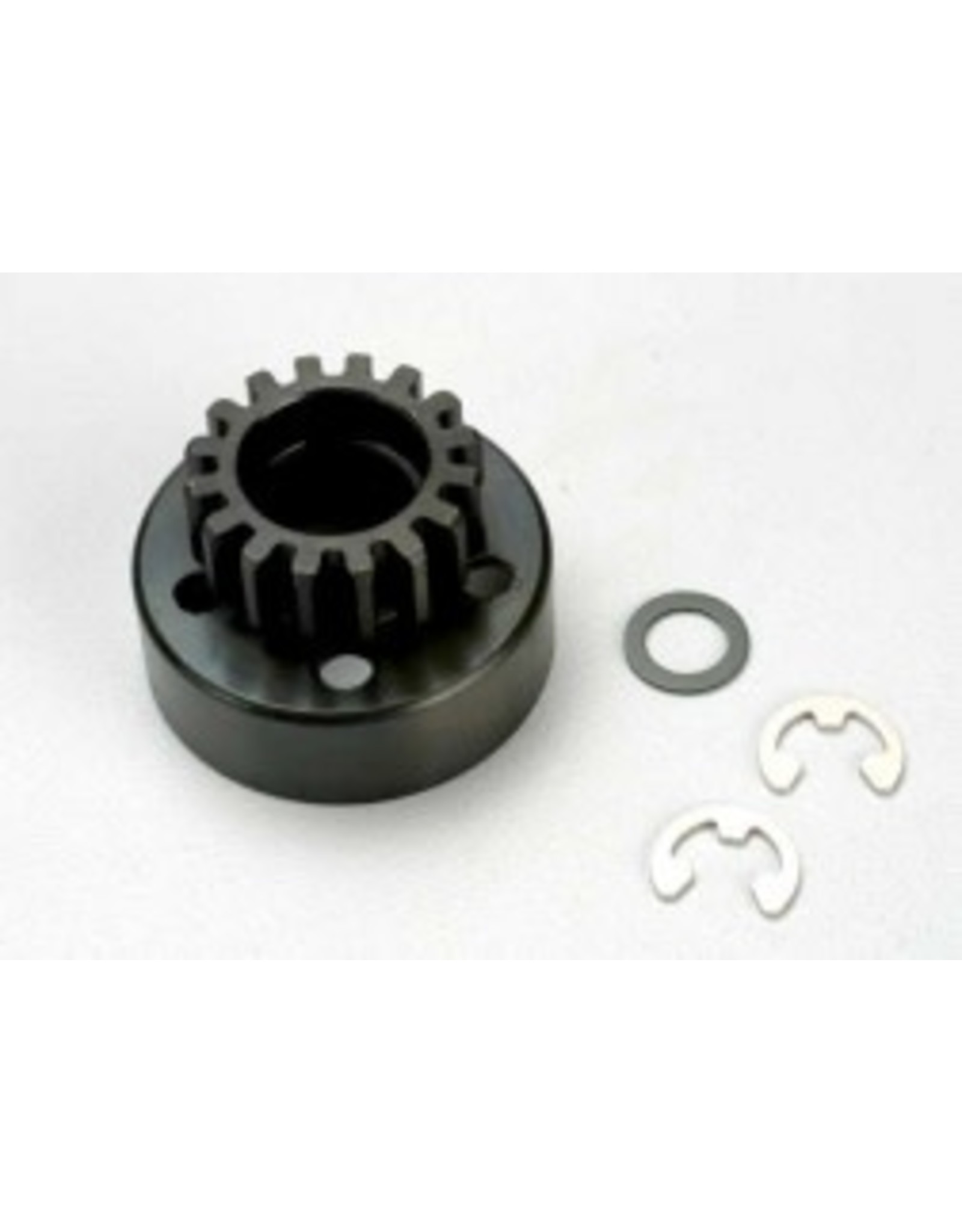 Traxxas Clutch bell (15-tooth)/5x8x0.5mm fiber washer (2)/ 5mm e-clip (requires 5x11x4mm ball bearings part #4611) (1.0 metric pitch)