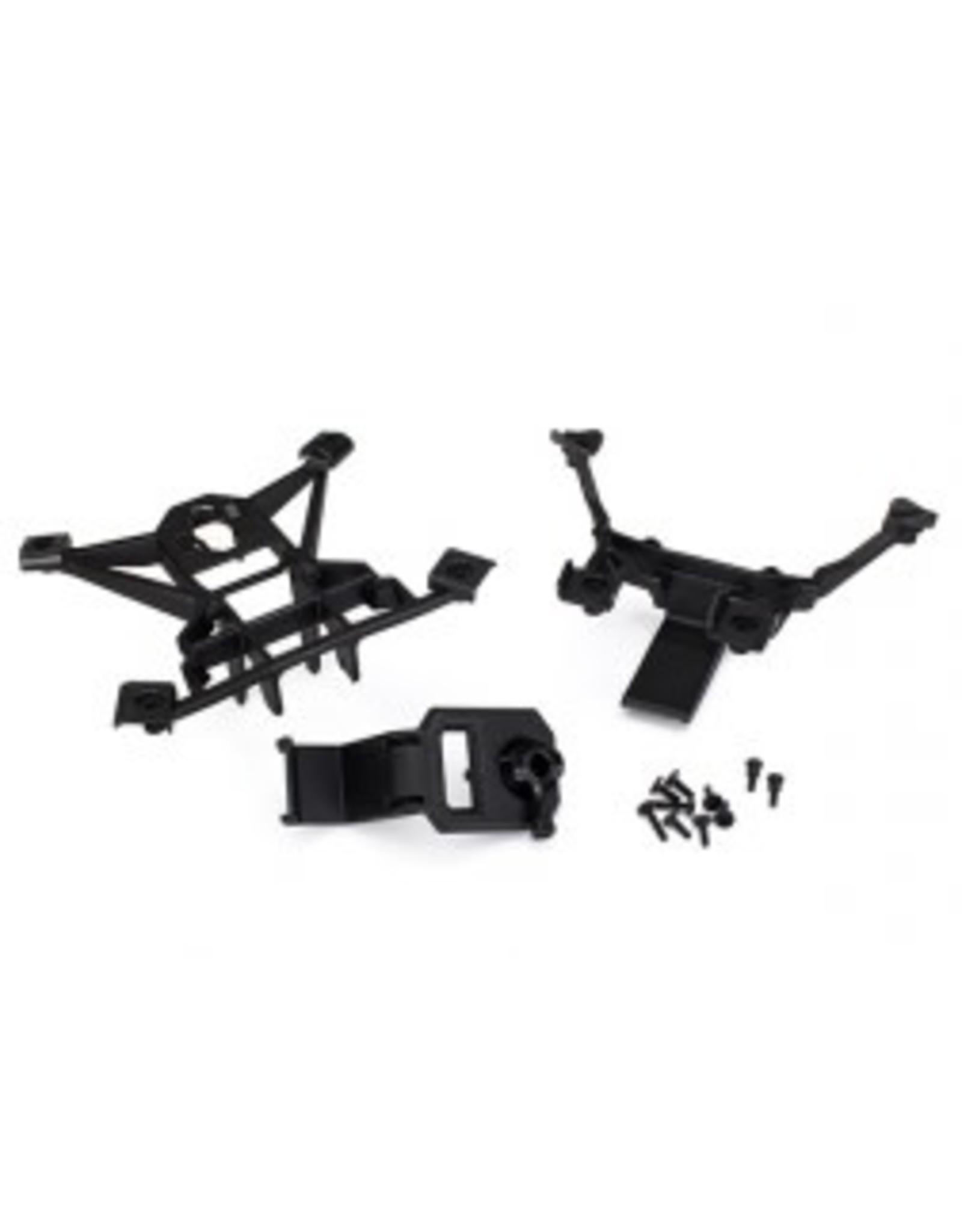 Traxxas Body mounts, front & rear/3x15mm BCS (1)/ 3x12mm shoulder screw (2)/ 3x10mm flat-head machine screw (6)/ 3x15mm flat-head machine screw (2)