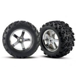 "Traxxas Tires & wheels, assembled, glued (Hurricane chrome wheels, Maxx® tires (6.3"" outer diameter), foam inserts) (2) (fits Revo®/T-Maxx®/E-Maxx with 6mm axle and 14mm hex)"