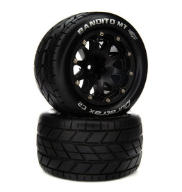 """Duratrax Bandito MT Belted 2.8"""" Mounted Front/Rear Tires, 14mm Black (2)"""