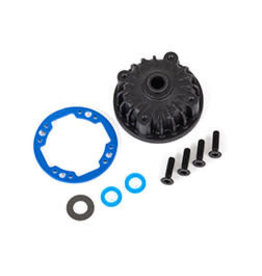 Traxxas Housing, center differential/ x-ring gaskets (2)/ 5x10x0.5 PTFE-coated washer (1)/ 2.5x8 CCS (4)