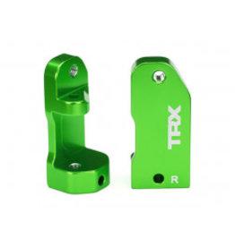 Traxxas Caster blocks, 30-degree, green-anodized 6061-T6 aluminum (left & right)/ suspension screw pin (2)