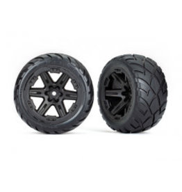 """Traxxas Tires & wheels, assembled, glued (2.8"""") (RXT black wheels, Anaconda tires, foam inserts) (4WD electric front/rear, 2WD electric front only) (2) (TSM rated)"""