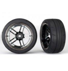 "Traxxas [Tires and wheels, assembled, glued (split-spoke black chrome wheels, 1.9"" Response tires) (extra wide, rear) (2)] Tires and wheels, assembled, glued (split-spoke black chrome wheels, 1.9"" Response tires) (extra wide, rear) (2)"