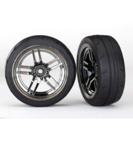 "Traxxas [Tires and wheels, assembled, glued (split-spoke black chrome wheels, 1.9"" Response tires) (front) (2)] Tires and wheels, assembled, glued (split-spoke black chrome wheels, 1.9"" Response tires) (front) (2)"