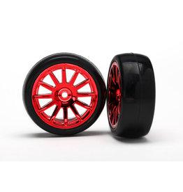 Traxxas [Tires & wheels, assembled, glued (12-spoke red chrome wheels, slick tires) (2)] Tires & wheels, assembled, glued (12-spoke red chrome wheels, slick tires) (2)