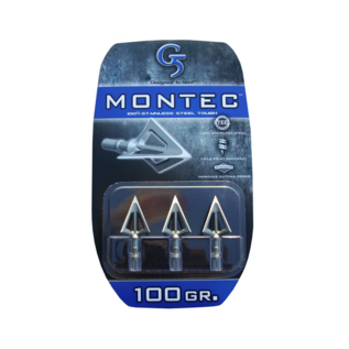 "G5 G5 Montec Broadhead, 3 Blade, 1-1/16"", 100gr, 3pk"