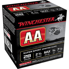 """Winchester Winchester AA  28 ga Lead Ammo, 2.75"""", #7.5, 3/4oz, 1300 fps, 25 rnds"""