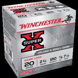 "Winchester Winchester Super-X 20 ga Lead Ammo, 2.75"", #7.5, 7/8 oz, 1210 fps, 25 rnds"