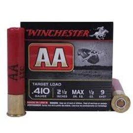 "Winchester Winchester AA Shotshell 410 ga 2-1/2"" #9,1/2oz Max 25 Rnds"
