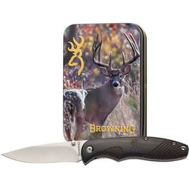 Browning Browning Whitetail Tin with Folding Knife 2.5""