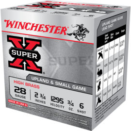 "Winchester 28 ga Lead  -  Winchester Super-X 2 3/4"" 3/4 oz High Brass #6"
