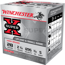 "Winchester 28 ga Lead  -  Winchester Super-X Shotshell 2.75"" 3/4 oz High Brass #5"