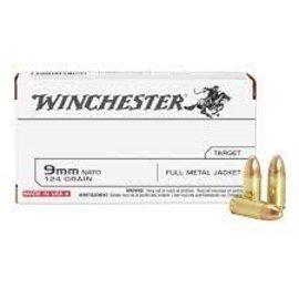 Winchester Winchester 9MM,  124 gr FMJ, 1140 fps, 50 rnds