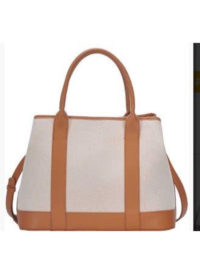 Two tone canvas satchel Tan