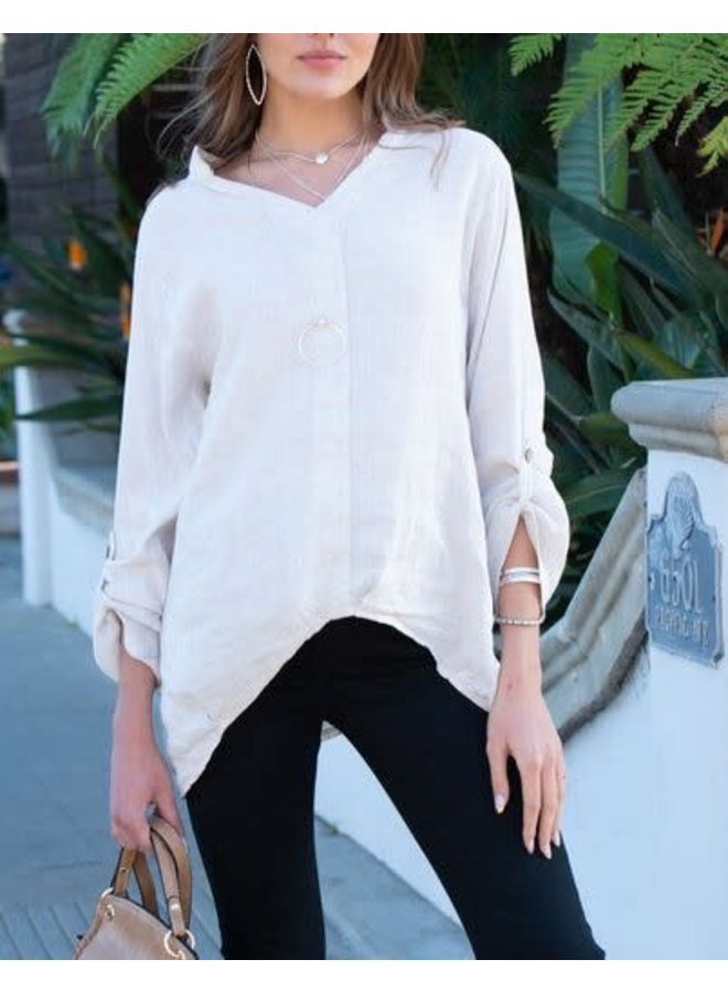 Linen Roll Up Sleeve Top Stone LG