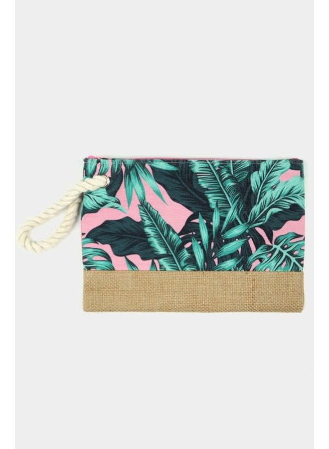 Palm Leaf Pouch Pink