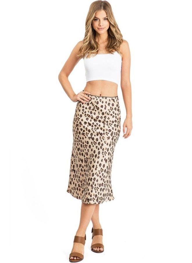 A Line Skirt Brown Leopard