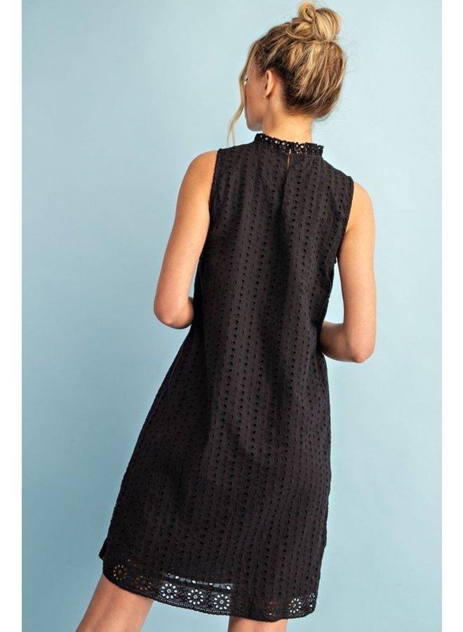 Mock Neck Black Eyelet Dress
