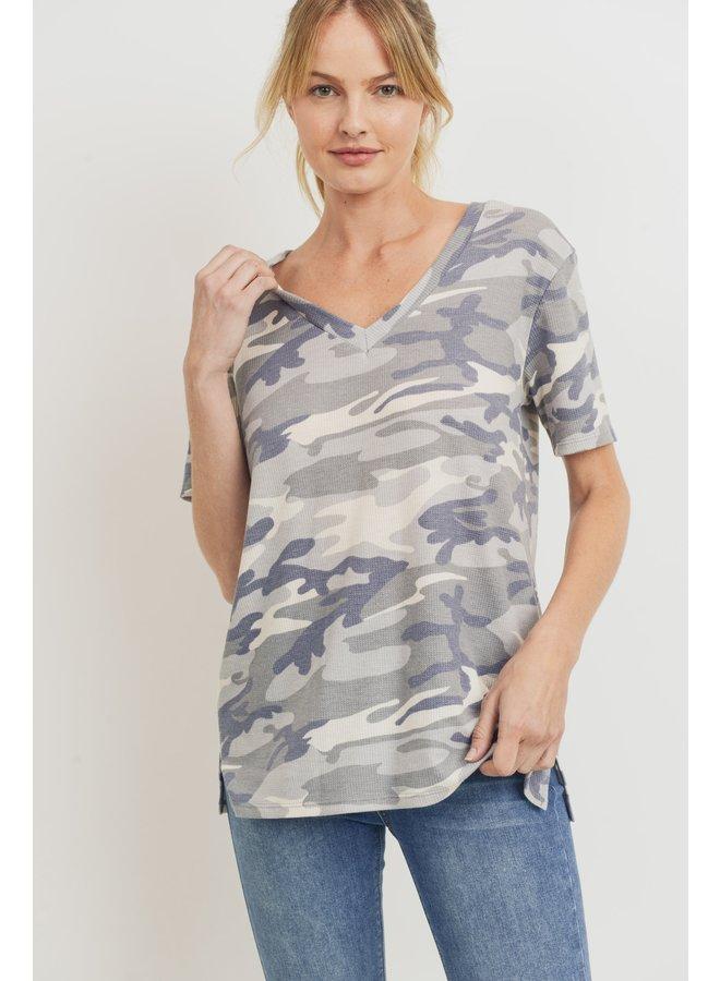 V Neck Short Sleeve Top Grey