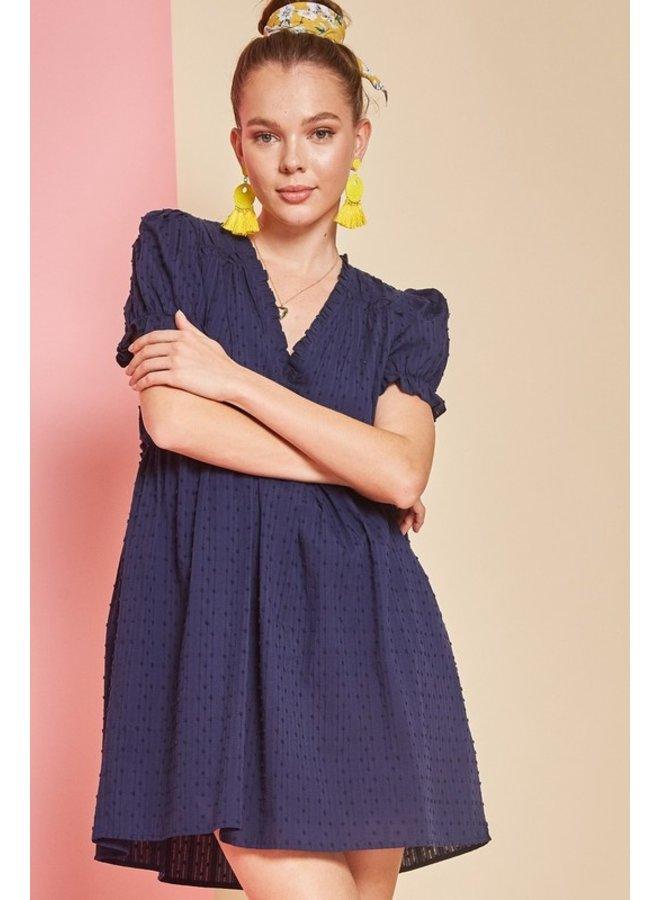Eyelet Short Sleeve Dress Navy