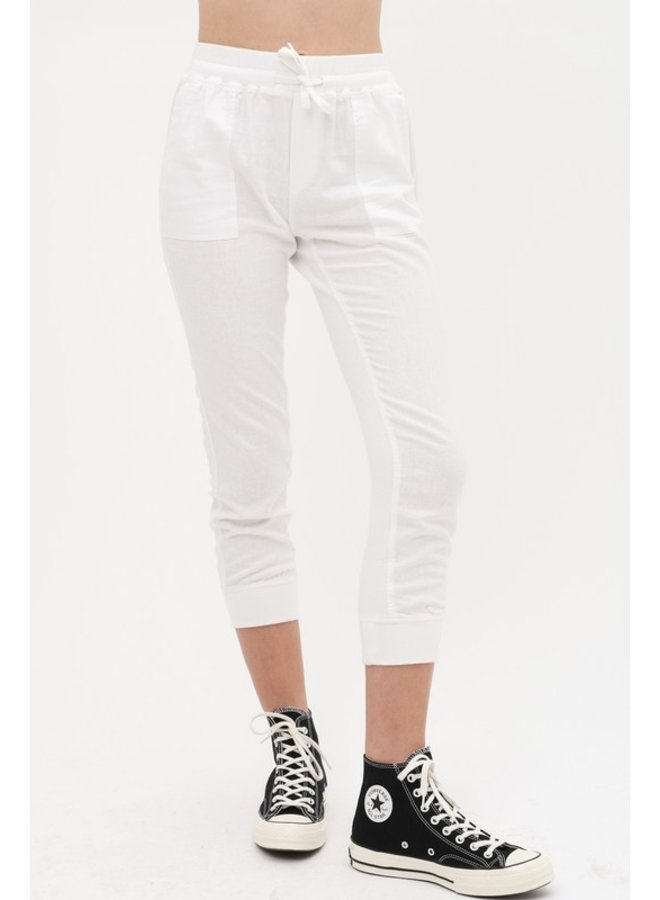 Cropped Linen Joggers