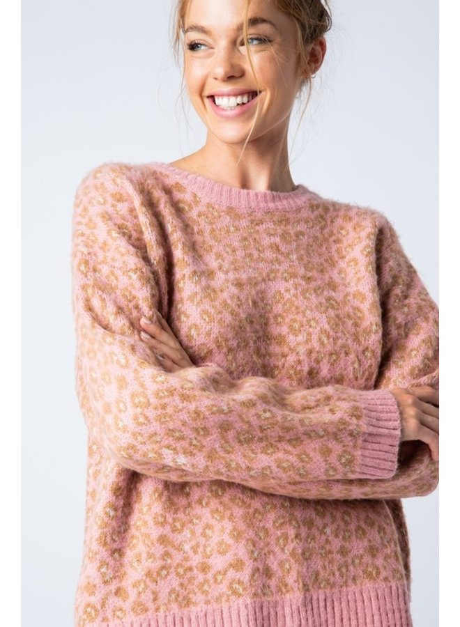 Leopard Sweater Pink
