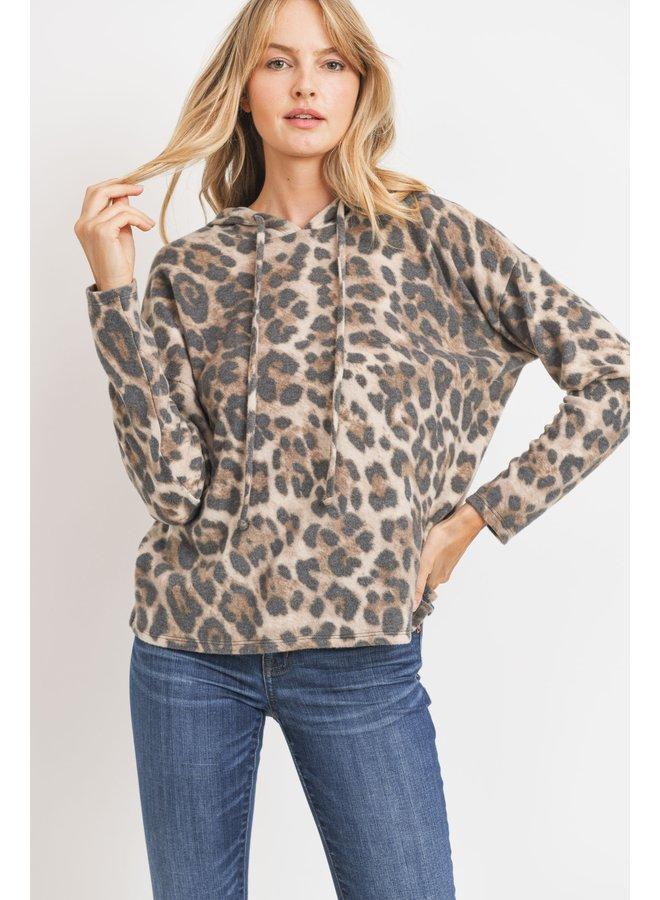 Brushed Knit Hoodie Leopard Brown