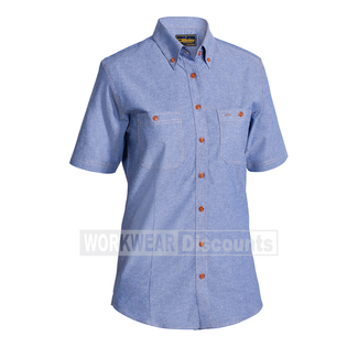 Bisley Bisley B71407L Ladies Cotton Chambray Shirt Short Sleeve