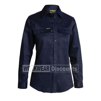 Bisley Bisley BL6339 Ladies Cotton Drill Shirt Long Sleeve