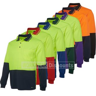 JB's Wear JB's 6HVPL Hi-Vis Traditional Polo Long Sleeve