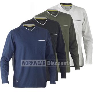 Bisley Bisley BK6933 Flex & Move™ Cotton Rich V Neck Long Sleeve Tee
