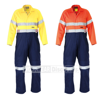 Bisley Bisley BC8001-CLEARANCE Hi-Vis Taped Indura Flame Resistant Cotton Drill Coverall