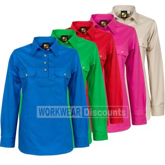 WorkCraft Workcraft WSL505 Ladies Lightweight Half Placket Cotton Drill Shirt Long Sleeve