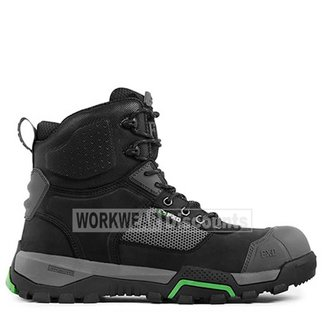 """FXD Workwear FXD FXWB1 6"""" Lace Up Zip Scuff Cap Nubuck Leather Composite Toe Boots Black"""