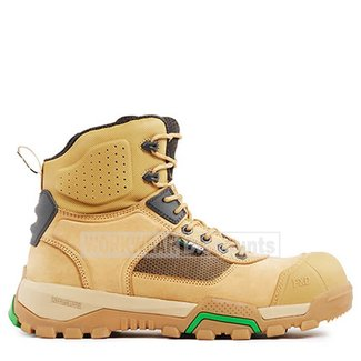 """FXD Workwear FXD FXWB1 6"""" Lace Up Zip Scuff Cap Nubuck Leather Composite Toe Boots Wheat"""