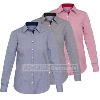 Van Heusen Van Heusen AWL161 Ladies Cotton Polyester Yarn Dyed Check Classic Fit Shirt Long Sleeve
