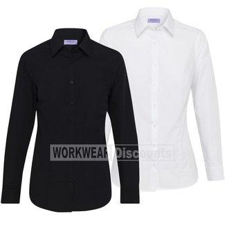 Van Heusen Van Heusen AWLE101 Ladies Cotton Polyester Solid Dyed Poplin Classic Fit Shirt Long Sleeve