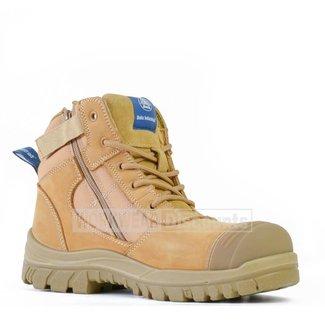 Bata Bata Zippy Lace Up Zip Side Steel Cap Ankle Boots Wheat