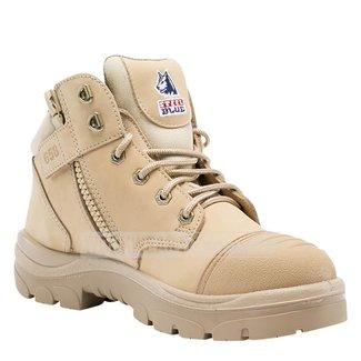 Steel Blue Steel Blue Parkes Zip Side Lace Up Steel Cap TPU Sole Boots Sand