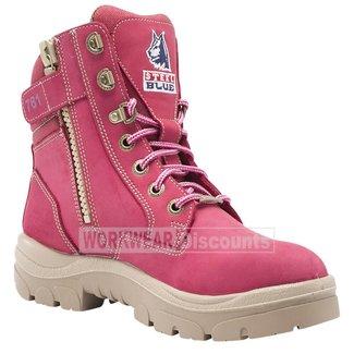Steel Blue Steel Blue Southern Cross Zip Ladies Lace Up Steel Cap TPU Sole Boots Pink