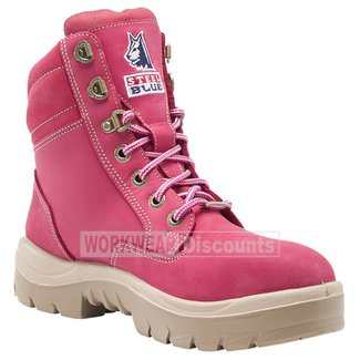 Steel Blue Steel Blue Southern Cross Ladies Lace Up Steel Cap Nitrile Sole Boots Pink